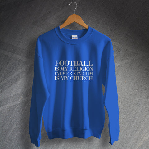 Brighton Football Sweatshirt Football is My Religion Falmer Stadium is My Church
