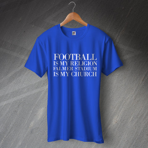 Brighton Football T-Shirt Football is My Religion Falmer Stadium is My Church