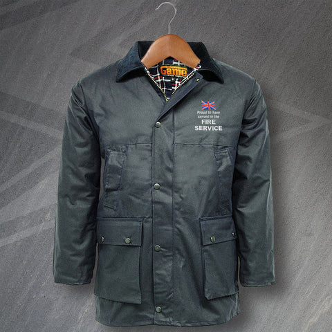 Fire Service Wax Jacket Embroidered Padded Proud to Have Served
