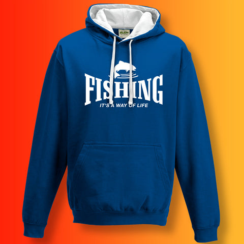 Fishing Contrast Hoodie with It's a Way of Life Design