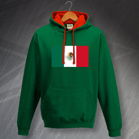 Mexico Hoodie Contrast Flag of Mexico