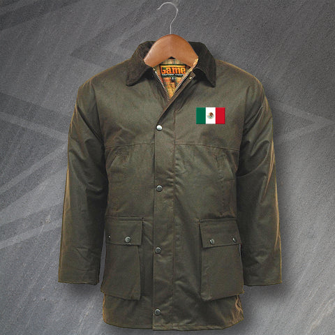 Mexico Wax Jacket Embroidered Padded Flag of Mexico
