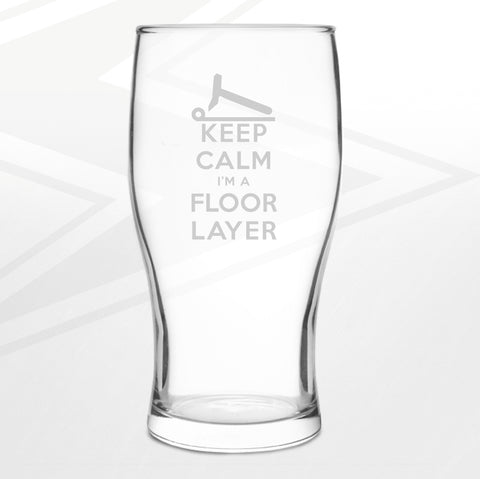 Floor Layer Pint Glass Engraved Keep Calm I'm a Floor Layer