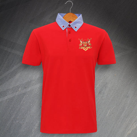 Nottm Forest Football Polo Shirt Embroidered Chambray Button 1970