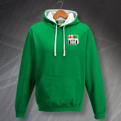 Forest Green Football Hoodie Embroidered Contrast 1975