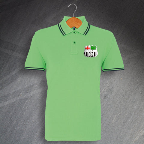 Forest Green Football Polo Shirt Embroidered Tipped 1975