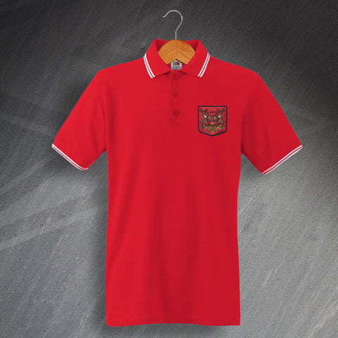 Retro Forest Embroidered Tipped Polo Shirt