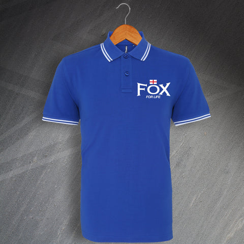 Leicester Football Polo Shirt Embroidered Tipped Fox for Life