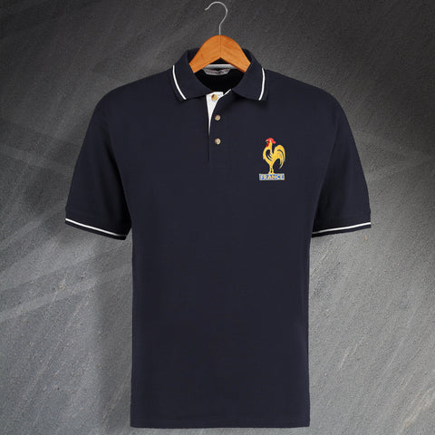 50d29cba Retro France Embroidered Contrast Polo Shirt