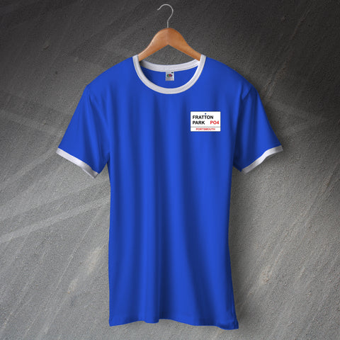 Portsmouth Football Shirt Embroidered Ringer Fratton Park