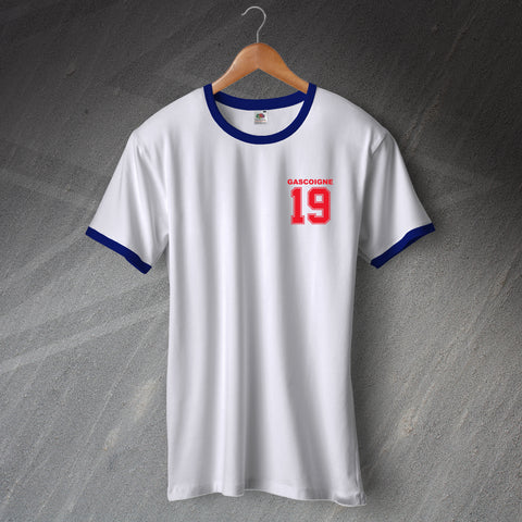 England Football Shirt Embroidered Ringer Gascoigne 19