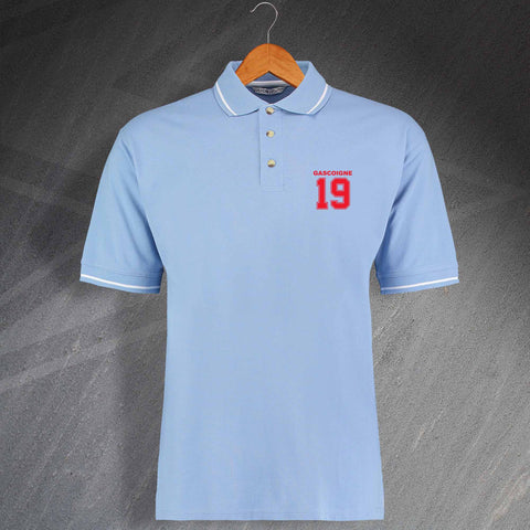 Lazio Football Polo Shirt Embroidered Contrast Gascoigne 19