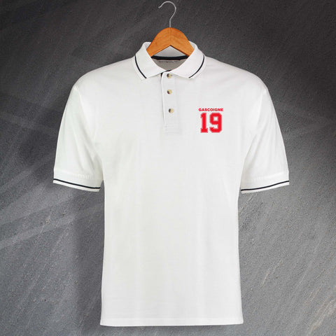 England Football Polo Shirt Embroidered Contrast Gascoigne 19