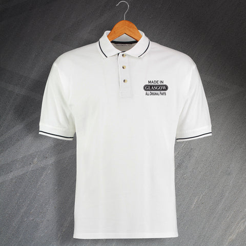 Made In Glasgow All Original Parts Unisex Embroidered Contrast Polo Shirt