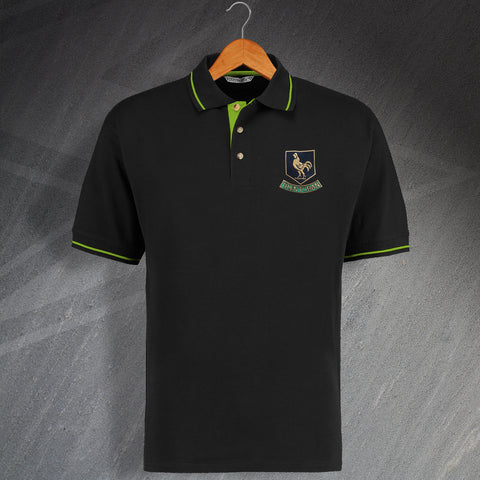 Retro Glentoran Embroidered Contrast Polo Shirt