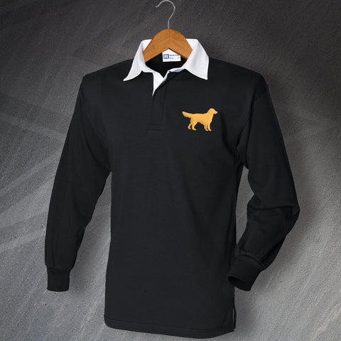 Golden Retriever Rugby Shirt Embroidered Long Sleeve