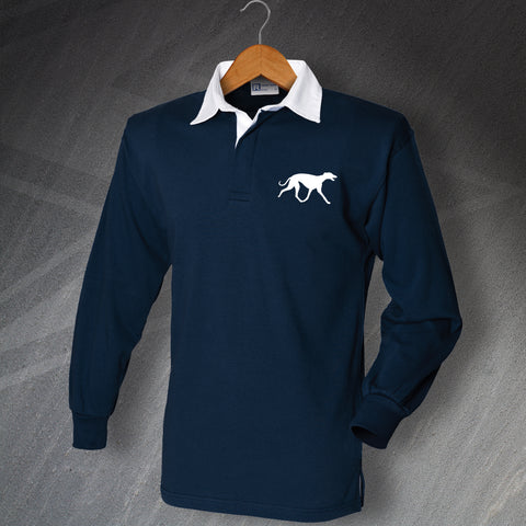 Greyhound Rugby Shirt Embroidered Long Sleeve