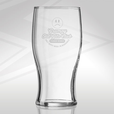 Grumpy Old Git Pint Glass Engraved Grumpy Old Gits Club Founder Member