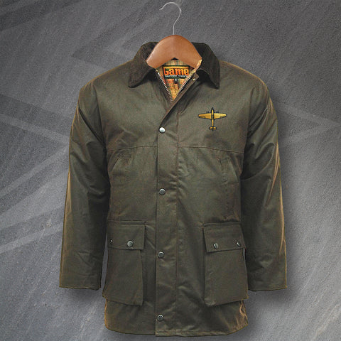 Hawker Hurricane Wax Jacket Embroidered Padded