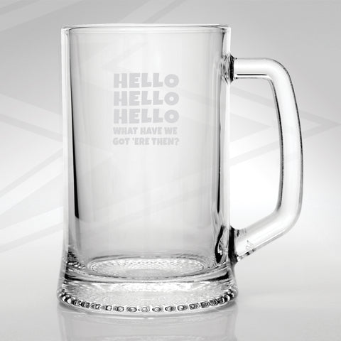 Police Force Glass Tankard Engraved Hello Hello Hello What Have We Got 'ere Then?