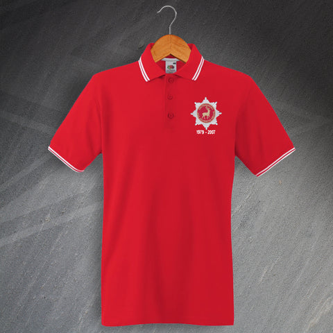Hertfordshire Fire Service Polo Shirt Embroidered Tipped Personalised Years of Service