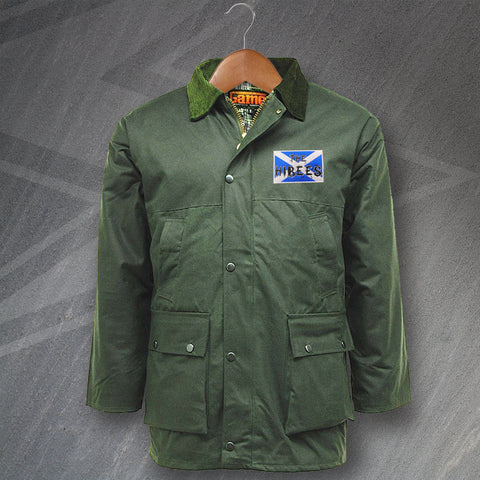 Hibs Football Wax Jacket Embroidered Padded The Hibees Grunge Flag of Scotland