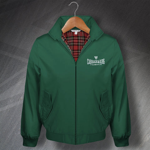 Hibs Football Harrington Jacket Embroidered Cabbage & Ribs It's a Way of Life