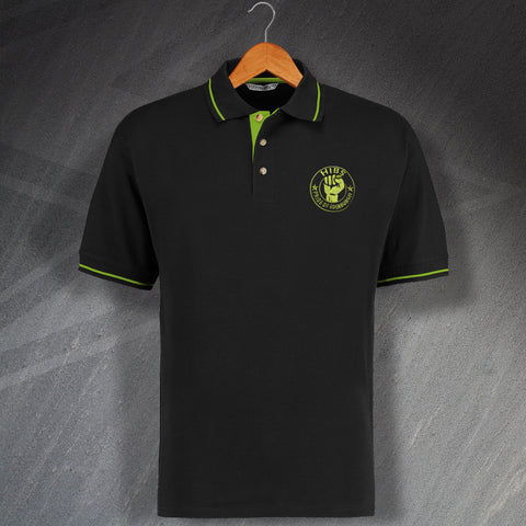 Hibs Football Polo Shirt Embroidered Contrast Pride of Edinburgh