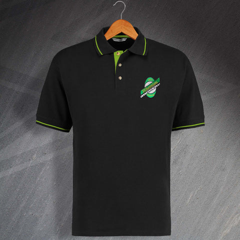 Retro Hibs 1989 Embroidered Contrast Polo Shirt