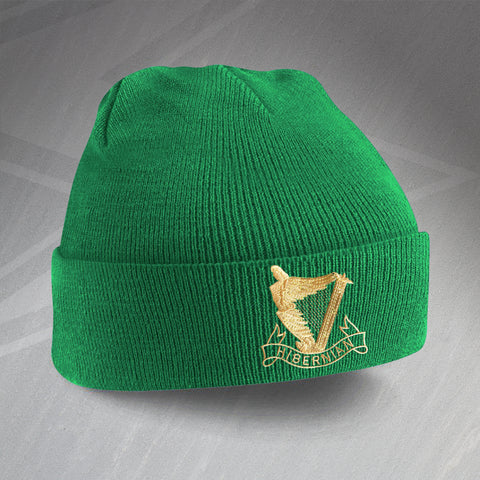 Retro Hibs Beanie Hat with Embroidered 1900s Badge