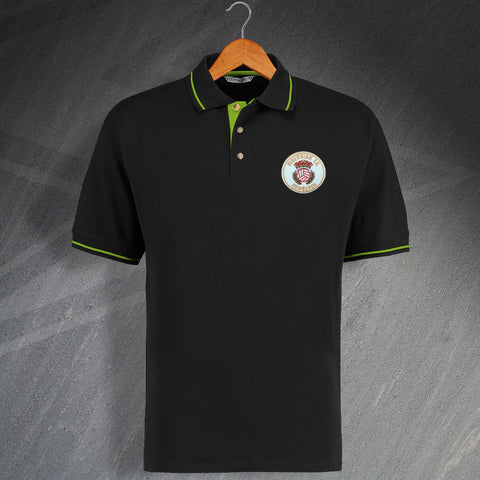 Retro Hibs 1980s Embroidered Contrast Polo Shirt