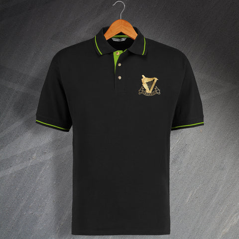Retro Hibs 1900s Embroidered Contrast Polo Shirt