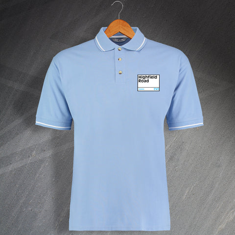 Coventry Football Polo Shirt Embroidered Contrast Highfield Road