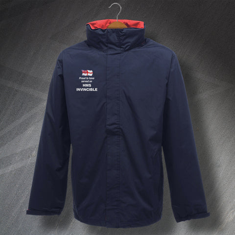 Proud to Have Served on HMS Invincible Embroidered Waterproof Jacket