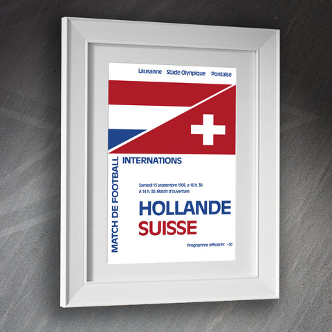 Switzerland Football Framed Print Programme Netherlands vs Switzerland 1956