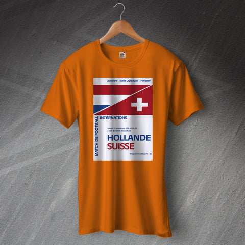 Netherlands Football T-Shirt Programme Netherlands vs Switzerland 1956