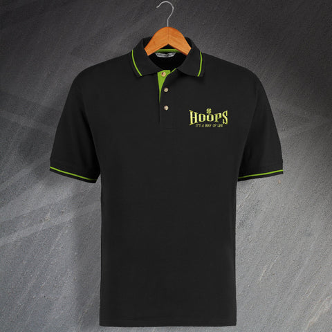 Hoops It's a Way of Life Embroidered Contrast Polo Shirt