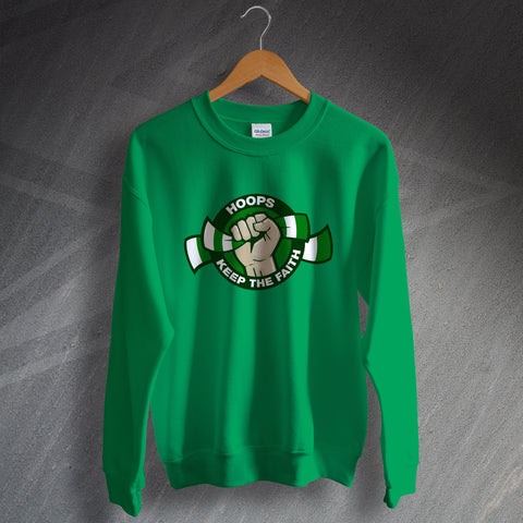 Celtic Football Sweatshirt Hoops Keep The Faith