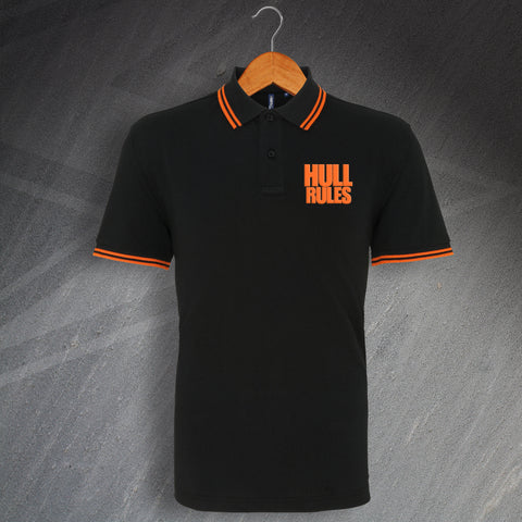 Hull Football Polo Shirt Embroidered Tipped Hull Rules