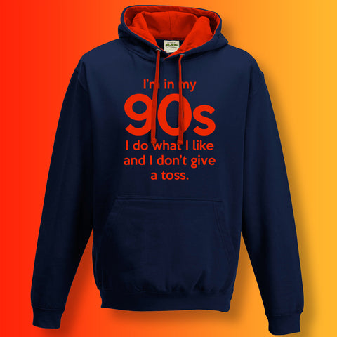 In My 90s Contrast Hoodie with I Do What I Like & Don't Give a Toss Design