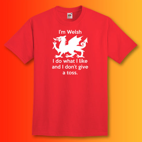 Welsh Unisex T-Shirt with I Don't Give a Toss Design