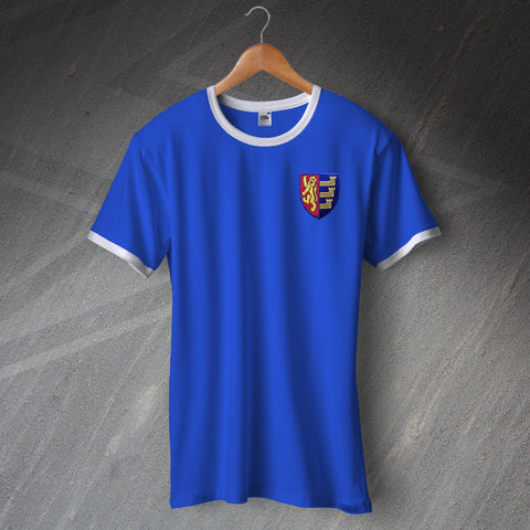 Retro Ipswich Football Shirt with Embroidered Badge