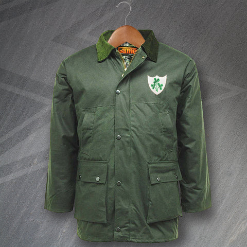 Ireland Football Wax Jacket Embroidered Padded 1978