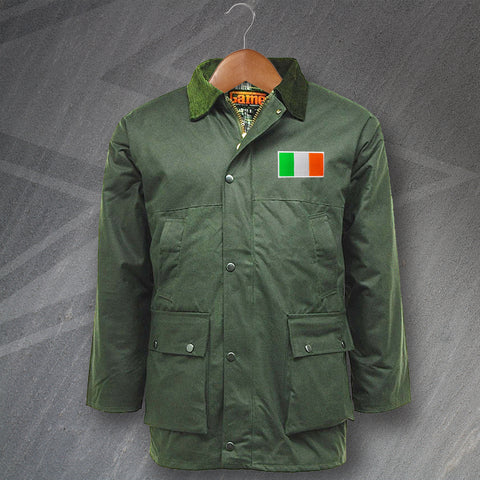 Ireland Wax Jacket Embroidered Padded Flag of Ireland