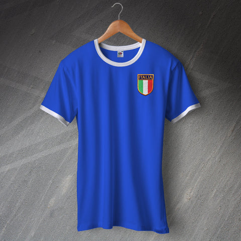 Italy Football Shirt Embroidered Ringer