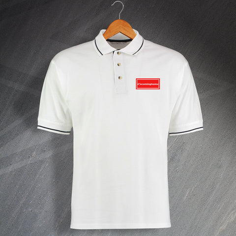 England Football Polo Shirt Embroidered Contrast It'scominghome