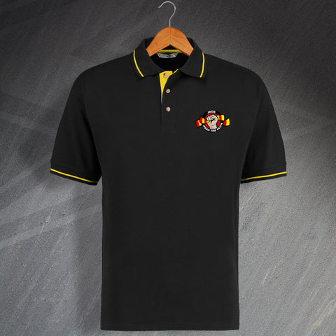 Partick Football Polo Shirt Embroidered Contrast Jags Keep The Faith