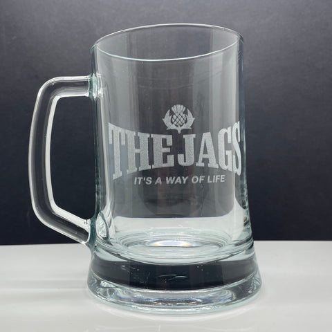 Partick Football Glass Tankard Engraved The Jags It's a Way of Life