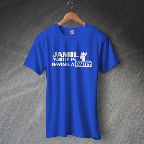 Leicester Football T-Shirt Jamie Vardy is Having a Party