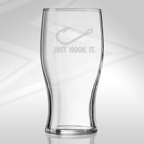 Fishing Pint Glass Engraved Just Hook It